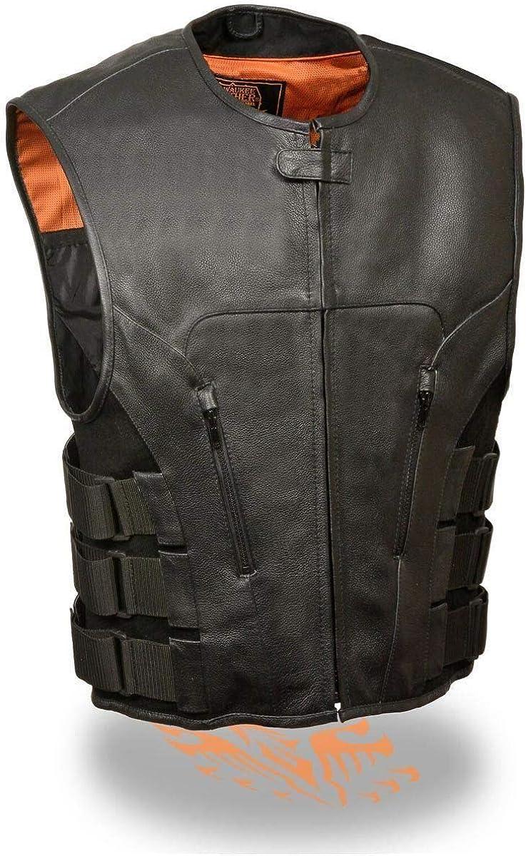 Milwaukee Leather MLM3500 Men's SWAT Style Zipper Front Black Leather Vest - Black / 7X-Large - 7X