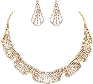 """Rosemarie Collections Women's Crystal Rhinestone Ruffle Collar Necklace and Hypoallergenic Earrings Jewelry Gift Set,14""""-1..."""