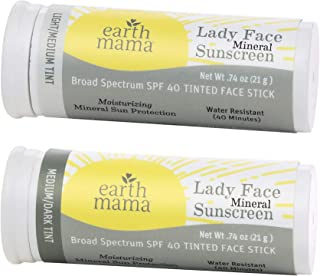 Lady Face Tinted Mineral Sunscreen Stick SPF 40 Set by Earth Mama (2 Pack)