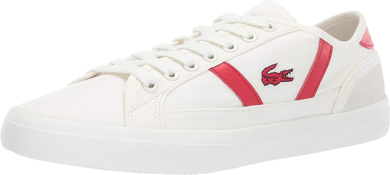 Lacoste Men's Sideline Sneaker Off White red 9.5 Medium US