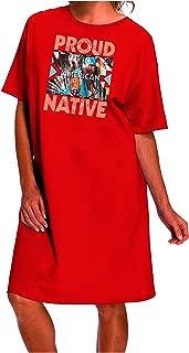 TooLoud Proud Native American Dark Adult Night Shirt Dress