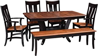 Solid Wood Dining Room Kitchen Table Set, Amish Made Heirloom Quaity for Today and Generations To Come, 2 Leaves-4 Chairs-1 Bench Crafted From Elm and Maple Hardwoods, White Glove Delivery