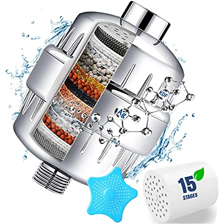 Fluoride and Harmful Substances Filtered Shower Head Set High Output Water Softener Removes Chlorine 15 Stage Shower Filter For Hard Water