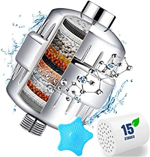 15 Stage Shower Filter with Vitamin C for Hard Water - Water Softener Shower Head Filter with Replaceable Multi-Stage Filt...