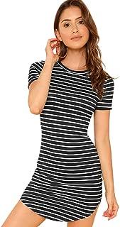 Women's Dolphin Hem Short Sleeve Tight Striped T-Shirt Dress