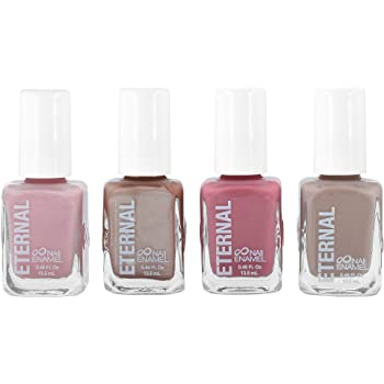 Eternal 4 Collection – Set of 4 Nail Polish: Long Lasting, Mirror Shine, Quick Dry, Neutral Colors (Nude Rose Gold)