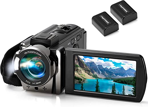 Video Camera Camcorder kimire Digital Camera Recorder Full HD 1080P 15FPS 24MP 3.0 Inch 270 Degree Rotation LCD 16X Digital Zoom Camcorder Camera with 2 Batteries(Black)