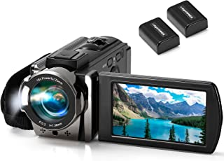 Video Camera Camcorder kimire Digital YouTube Vlogging Camera Recorder Full HD 1080P 15FPS 24MP 3.0 Inch 270 Degree Rotation LCD 16X Digital Zoom Camcorder Camera with 2 Batteries(Black)