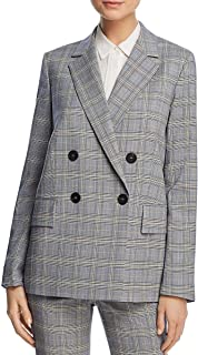 Womens Piazza Wool Plaid Double-Breasted Blazer