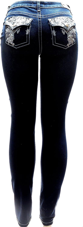 SEXY COUTURE /Clash Jeans Women's Rhinestone Dark Wash Mid Rise Boot Cut Denim Jean 0-17