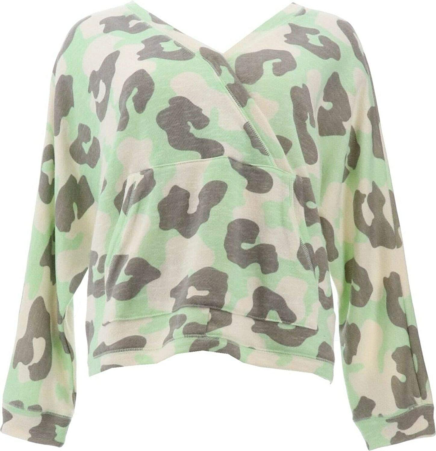 AnyBody French Terry Animal Camo Surplice Pullover A374518