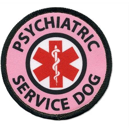 "3/"" Circle Sew Psychiatric Service Dog Iron On Patch Medical Animal Badge"