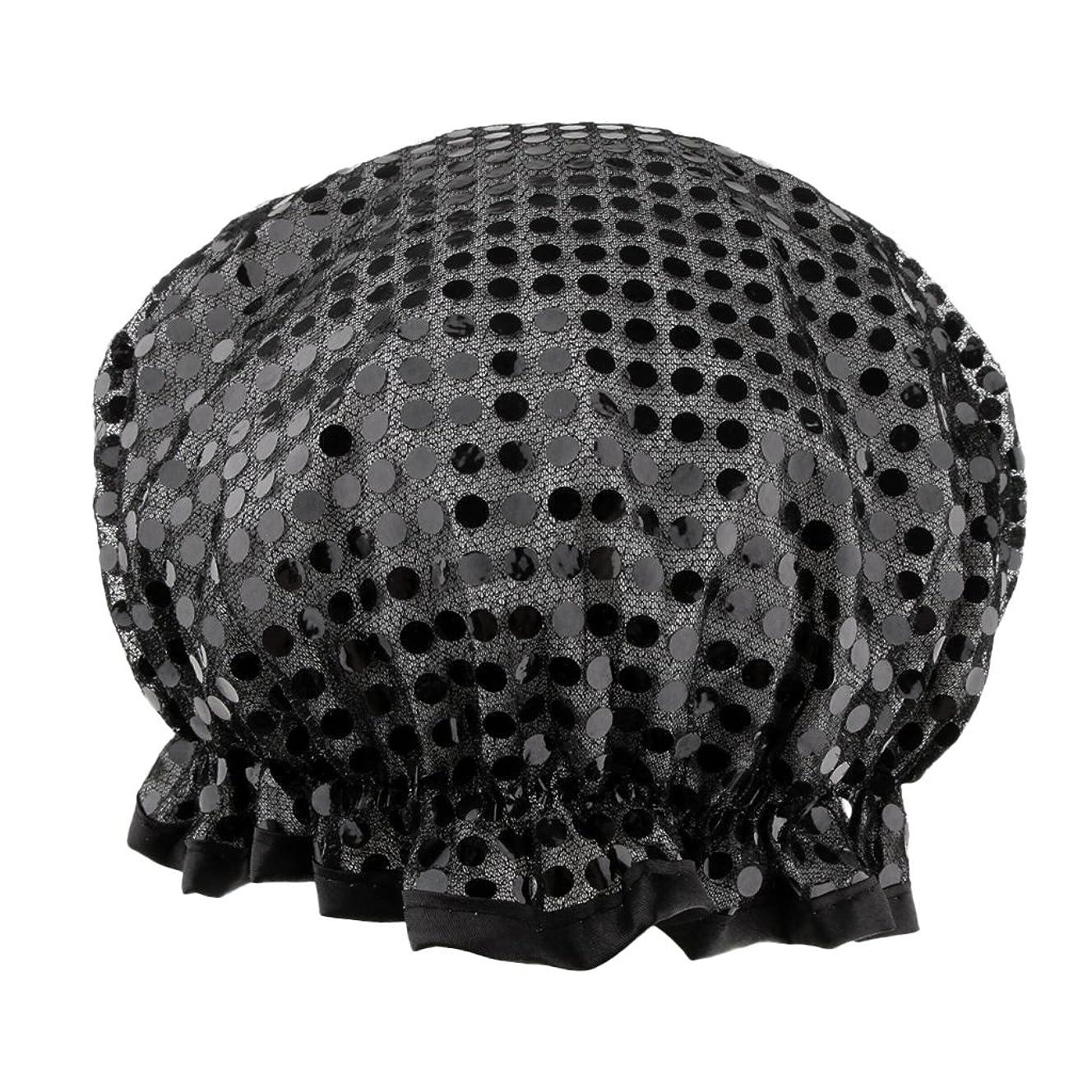 中性反射債務者Toygogo バスキャップ 入浴帽子 シャワーキャップ 防水 温泉 サロン SPA 3色選べる - ブラック