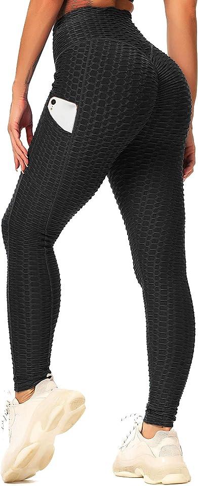 Damen Slim Fit Hohe Taille Sportshort Lange Leggings mit Bauchkontrolle