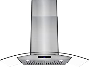 AKDY Wall Mount Stainless Steel Tempered Glass Kitchen Cooking Range Hood with LED Display Touch Control Panel and Baffle Filters (36 in.)