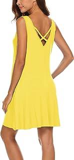 فستان LuckyMore صيفي للنساء للشاطئ وغطاء متقاطع وجيب خلفي متأرجح، مقاس S-3XL