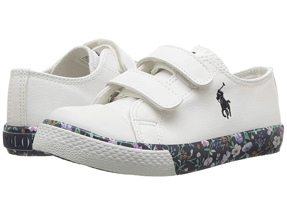 Polo Ralph Lauren Kids Slone EZ (Toddler) (White Tumbled/Navy/Multi Floral/Navy Pony) Girl
