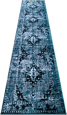 Masada Rugs, Stephanie Collection Area Rug Traditional Vintage Oriental Distressed Design 1108 Turquoise Grey White Black (2