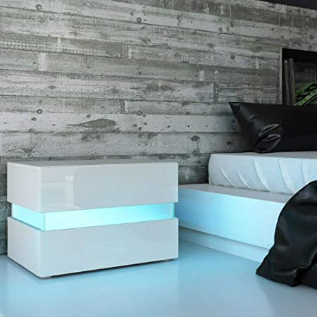 White Nightstand Beside Table, Modern 2 Drawers LED RGB Light High Gloss Cabinet Side Table End Table for Bedroom, Home Room Bedroom Decor