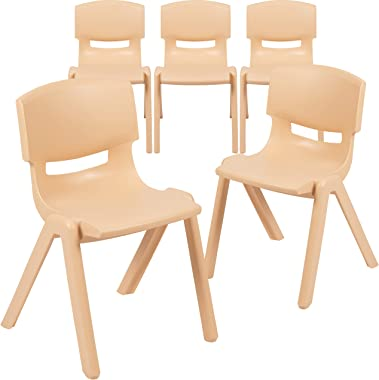 """Flash Furniture 5 Pack Natural Plastic Stackable School Chair with 13.25"""" Seat Height"""