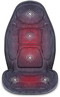 Masajeador espaldamasaje Cojín de asiento para masajes para automóviles con calor 5 motores vibrantes y 2 almohadillas térmicas de terapia, masajeador de espalda, cojín para silla de masaje para uso e