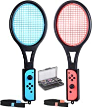 Tennis Racket for Nintendo Switch Joy-Con, Tendak Game Accessories for Mario Tennis Aces Game with 12 in 1 Game Card Case (2 Pack, Black)
