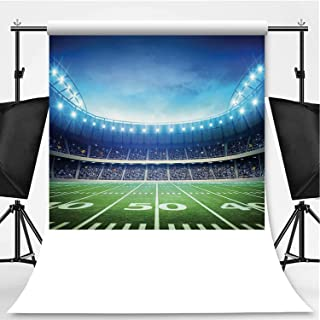 Football Theme Backdrop Photography Background Backdrops,Photo of American Stadium Green Grass Playground Bleachers Event,6x10ft