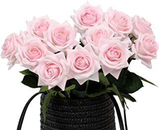 N YONGNUO 12pcs Latex Moisturizing Roses of Real Touch Natural Artificial Flowers Pink Open Roses Realistic Color for Wedding/Home Decor or As a Gift to Wife/Mother/Friend(19 Inch-Light Pink)
