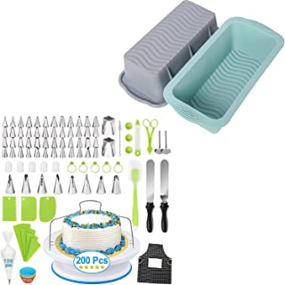 200pcs Cake Decorating Kit and 2 Pack Silicone Loaf Pans, Great Gift Chioce for Baker, Gift for Beginners