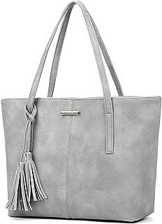 SGJFZD Women's Handbag PU Large-Capacity Shoulder Bag Messenger Bag Tote Bag PU Leather Fashionable Shopping Travel Laptop Bag for Ladies Wallet Storage Bag (Color : Grey)
