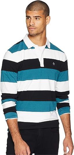 Long Sleeve Stripe Logo Rugby Polo