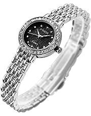 S2SQURE 腕時計 クォーツ レディース ガールズ キラキラシルバー ダイヤ設計 (ブラック)