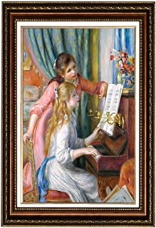 Eliteart- Young Girls at The Piano by Pierre-Auguste Renoir Oil Painting Reproduction Giclee Wall Art Canvas Prints-Framed Size: 36
