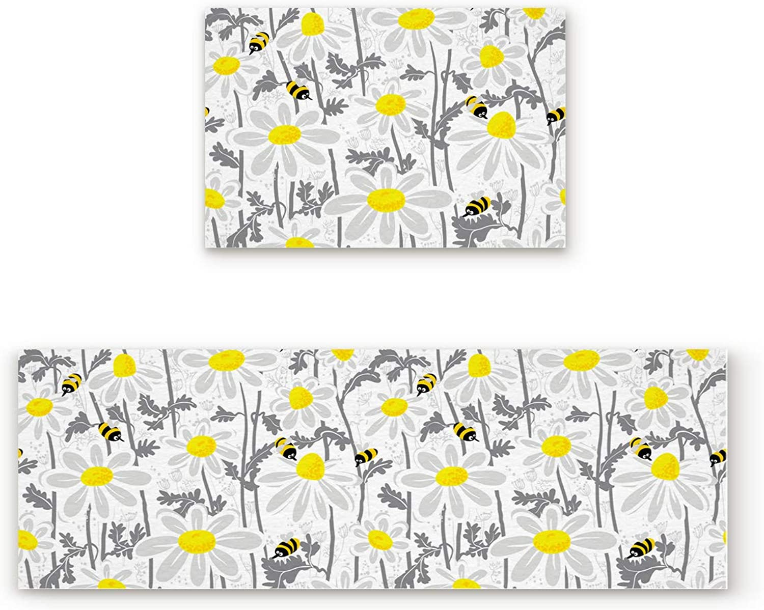 Aomike 2 Piece Non-Slip Kitchen Mat Rubber Backing Doormat Flower Bed Daisy and Bees Runner Rug Set, Hallway Living Room Balcony Bathroom Carpet Sets (19.7  x 31.5 +19.7  x 63 )