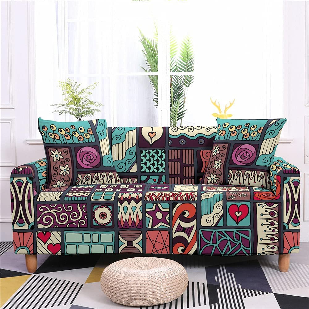 AMZAO High Stretch Sofa Covers 1 2 Popular overseas 3 Factory outlet Geometric Abstract 4 Seater