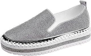 Scarpe Casual da Donna Fondo Morbido Strass indossabile da Esterno Stile College Slip On Primavera Autunno Mocassini con P...