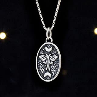 Sterling Silver Luna Moth, Moon Phase - Small - (Charm Only or Necklace)