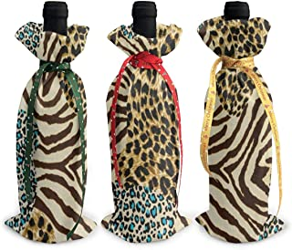 Wine Bag Animal Zebra Leopard Print Reusable Red Wine Bottle Gift Bags with Drawstring Beer Bottle Wraps Dresses Protector Package Travel 3 Pack