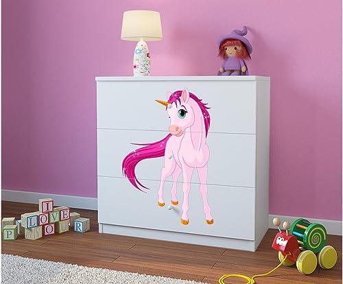 para barato CARELLIA Cómoda Infantil Infantil Infantil Unicornio 3cajones blanco  tienda en linea