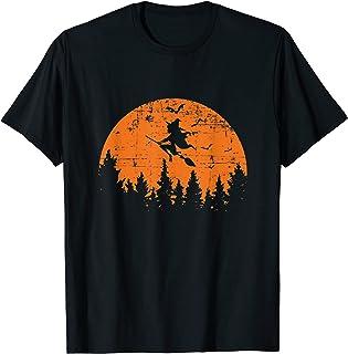 Sorcière effrayante au clair de lune rétro vintage T-Shirt