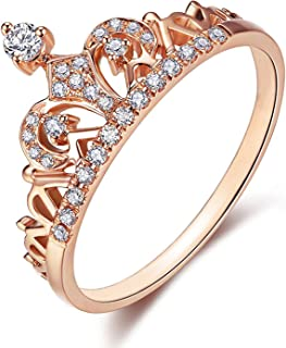 Women Crown Rings Princess Queen 18K Gold Plated Tiara Ring Tiny CZ Gift Girl Promise Ring