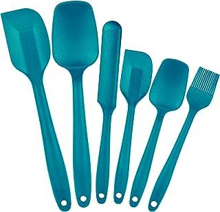 Amzeeniu Spatule Silicone Lot de 6,Spatule Patisserie Cuisine Ustensiles en Silicone de Qualité Alimentaire,Antiadhésif Ré...