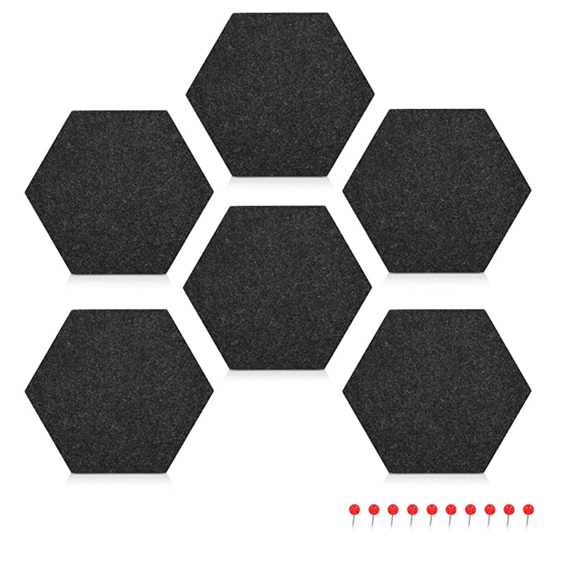 Navaris Hexagon Felt Board Tiles - Set of 6 Notice Memo Bulletin Boards with Push Pins Pack 5.9 x 7 inches (15 x 17.7 cm) - Dark Grey