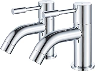 """XBMY Pair of Basin Taps,Twin Modern Round 1/2"""" Hot and Cold Bathroom Sink Taps,Chrome Brass 2pcs"""