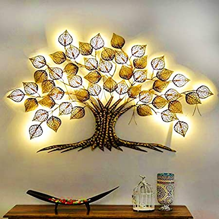 TheUnique.Wrought and Cast Iron Big Wall Metal LED Tree. MultiGOLDColour Wall Hanging Home Decor for Living Room Decorations