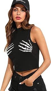 Women's Slim Skeleton Hands Print Crop Top
