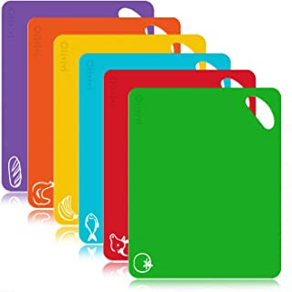 Extra Thick Flexible Plastic Kitchen Cutting Board Mats Set, Set of 6 Colored Mats With..