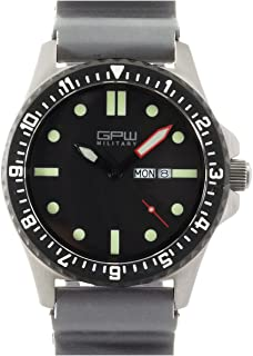 German Military Titanium Watch. GPW Day Date. Grey Field Rubber Strap. Sapphire Crystal. 200M W/R.