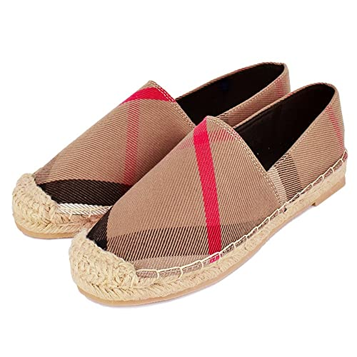 Tengyu Womens Espadrilles Flats Original Slip On Loafer Shoes Classic Canvas Comfort Alpargatas (US9=
