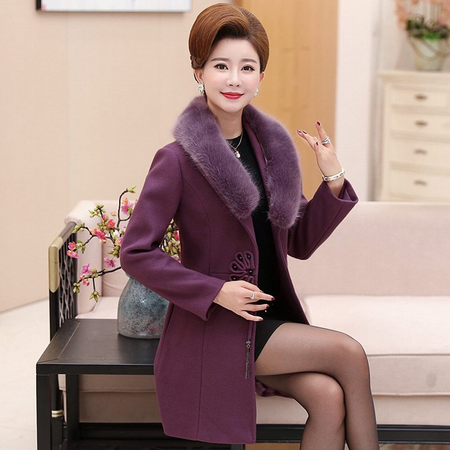 DEED Women's CoatMiddle  Aged Women 'Autumn and Winter Loaded Woolen Jacket Middle  Aged Mother Loaded Large Yards in The Long Paragraph Woolen Coat